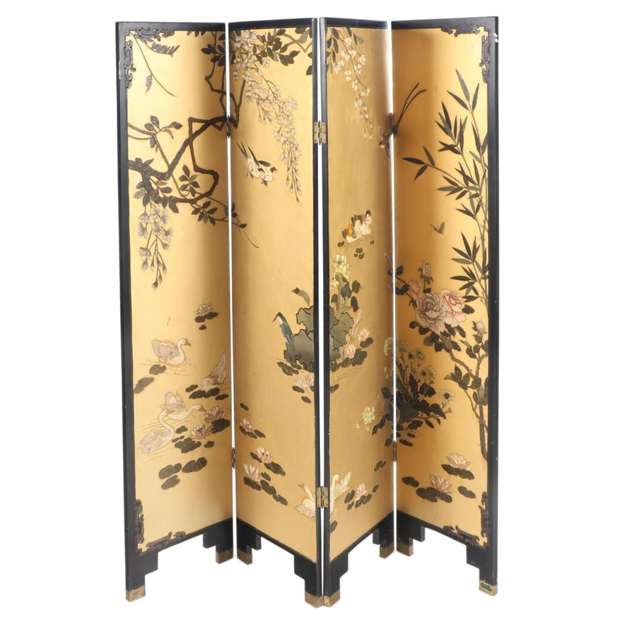 Chinese Black, Gilt, and Polychrome-Lacquer Four-Panel Folding Screen