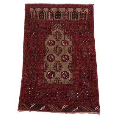 2'6 x 4'1 Hand-Knotted Persian Turkmen Prayer Rug, 1940s