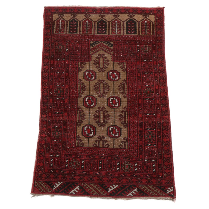 2'6 x 4'1 Hand-Knotted Persian Turkmen Prayer Rug, 1940s