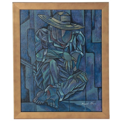 Ricardo Maya Abstract Figural Acrylic Painting of Seated Man with Hat
