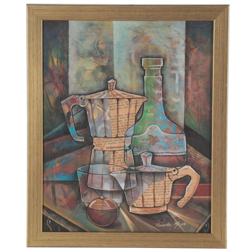 Ricardo Maya Abstract Acrylic Still Life Painting, 21st Century