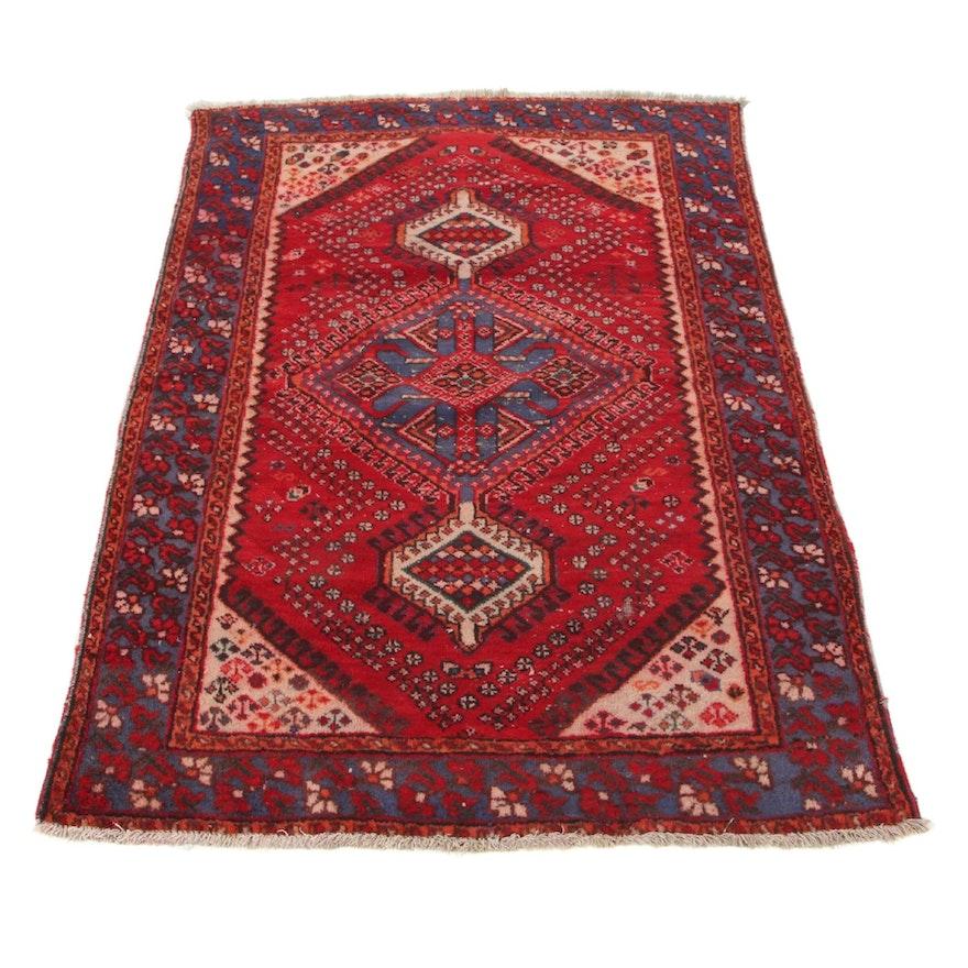 4'4 x 6'2 Hand-Knotted Persian Zanjan Area Rug, 1950s