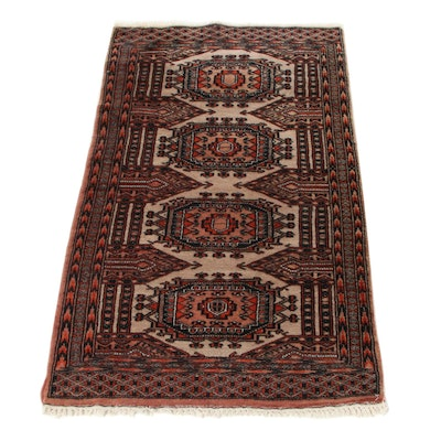2'7 x 4'4 Hand-Knotted Pakistani Turkmen Bokhara Accent Rug, 1990s