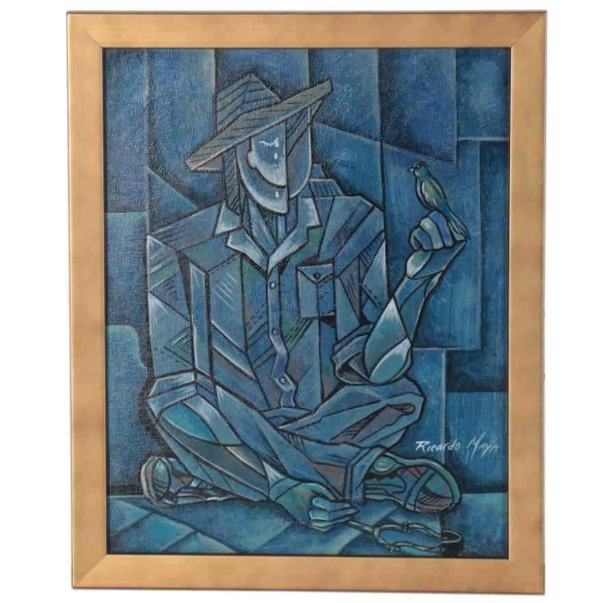 Ricardo Maya Abstract Figural Acrylic Painting of Man with Bird