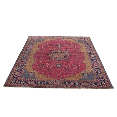 11'10 x 15' Hand-Knotted Turkish Village Room Sized Rug, 1920s