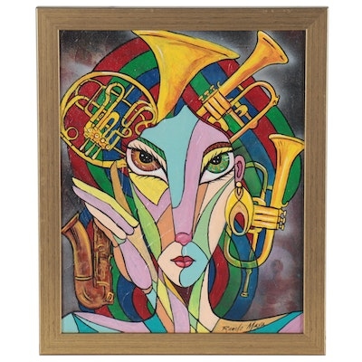 Ricardo Maya Acrylic Painting of Figure with Brass Horns