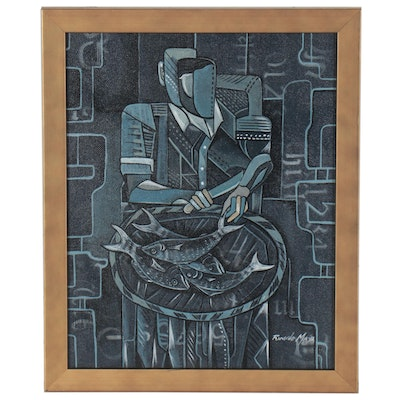 Ricardo Maya Abstract Figural Acrylic Painting