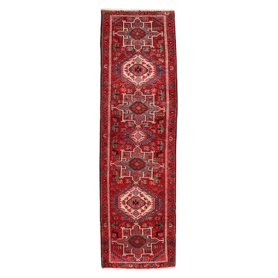 3'1 x 10'8 Hand-Knotted Persian Karaja Carpet Runner, 1940s