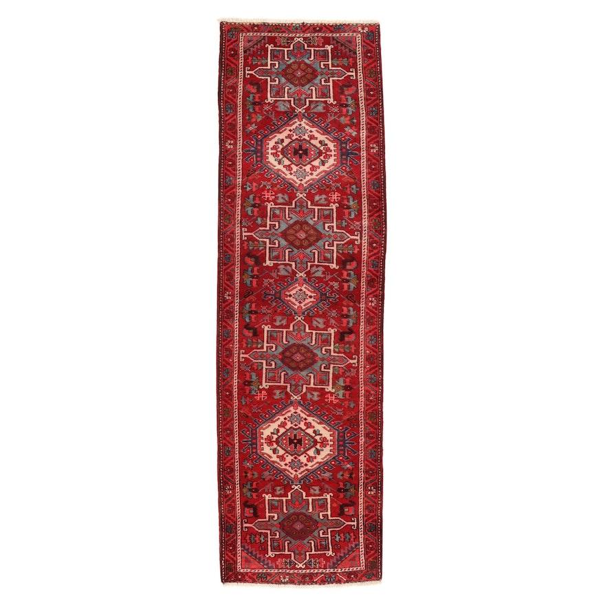 3'1 x 10'8 Hand-Knotted Persian Karaja Carpet Runner, 1940s