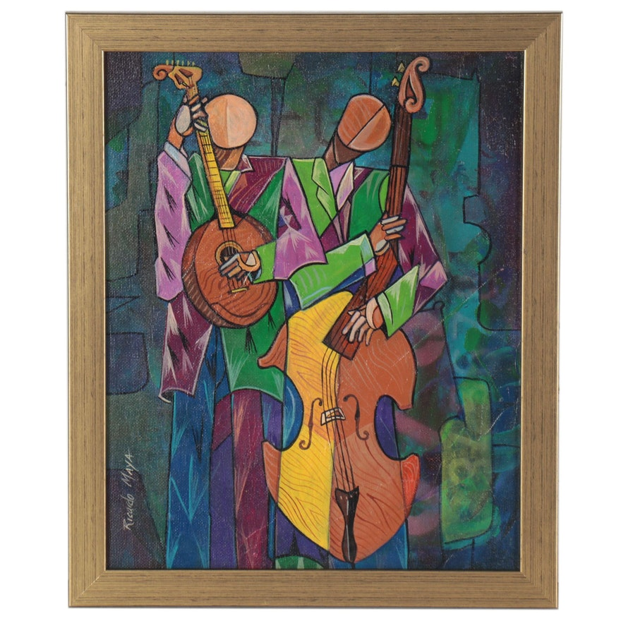 Ricardo Maya Abstract Figural Acrylic Painting of Musicians