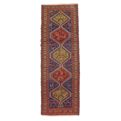 3'6 x 10'6 Handwoven Persian Ardebil Pictorial Soumak Long Rug, 1970s