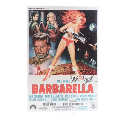 "Jane Fonda Signed ""Barbarella"" Reproduction Movie Poster, JSA COA"