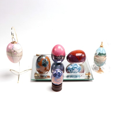 Decorative Egg with Stands and  Mirrored Tray, Late 20th Century