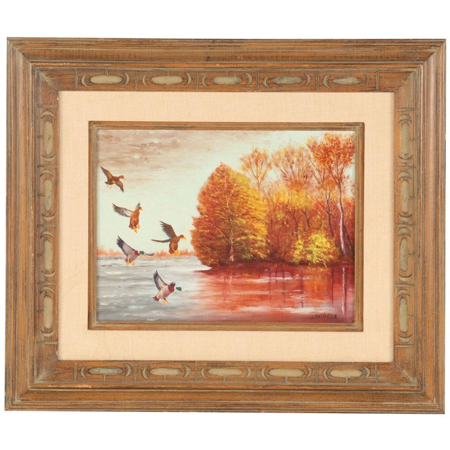 "J. A. Leazenbee Acrylic Painting ""Mallards Landing,"" Late 20th Century"