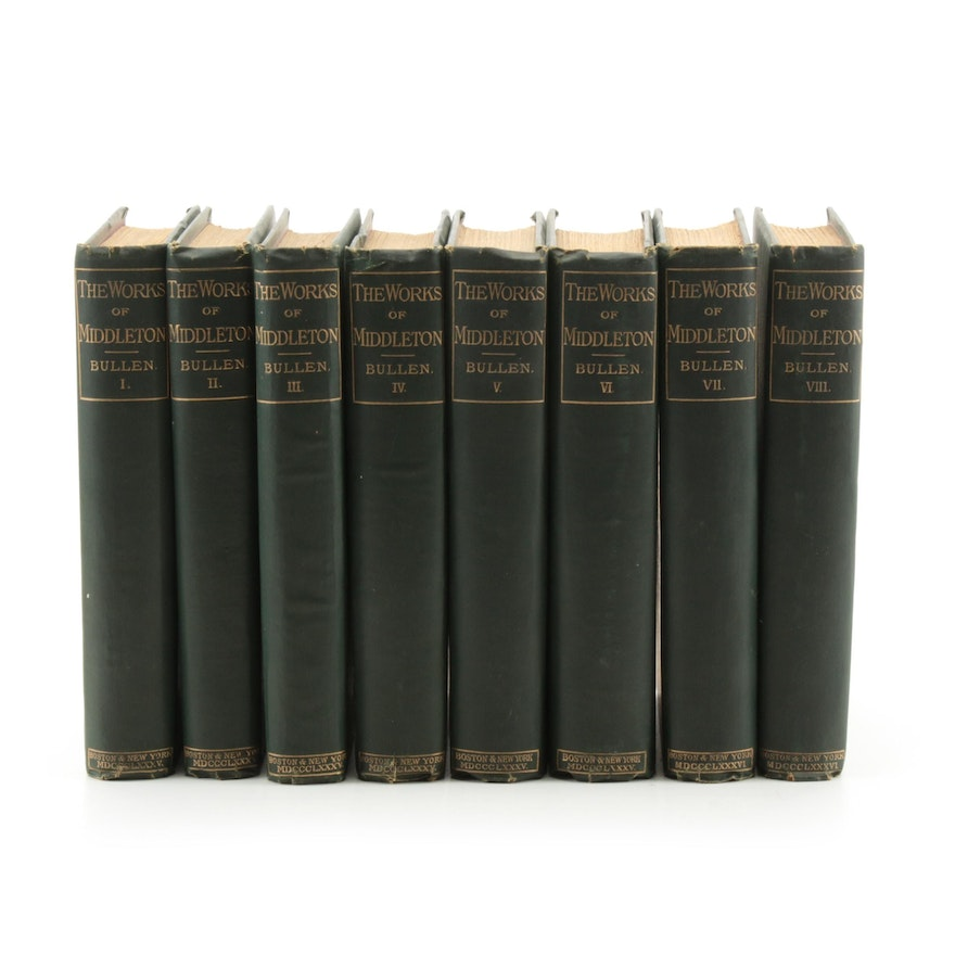 """The Works of Thomas Middleton"" Complete Set Edited by A. H. Bullen, 1885"