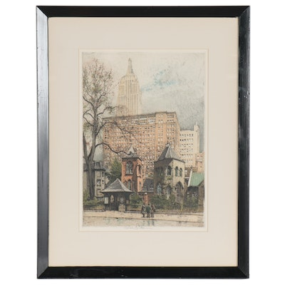 "Robert Kasimir Etching with Aquatint ""New York, Little Church Around The Corner"""