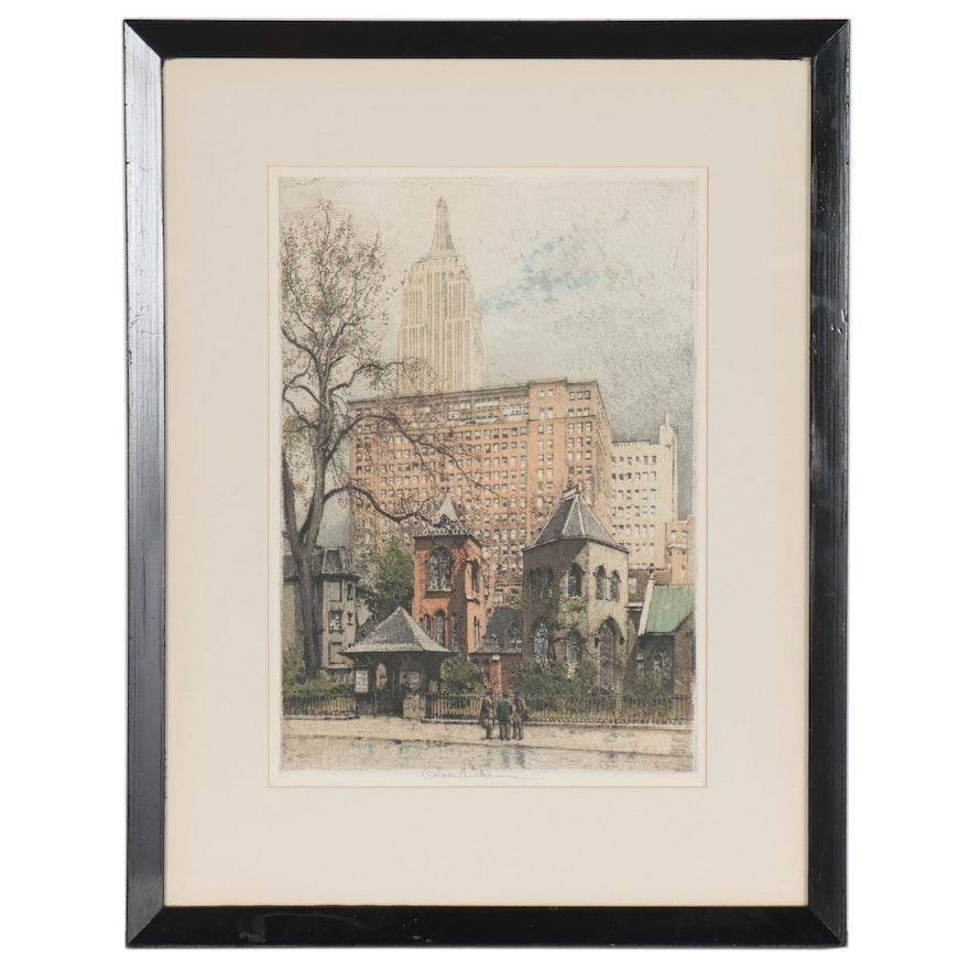 "Robert Kasimir Etching with Aquatint ""New York, Little Church Around The Corner"""