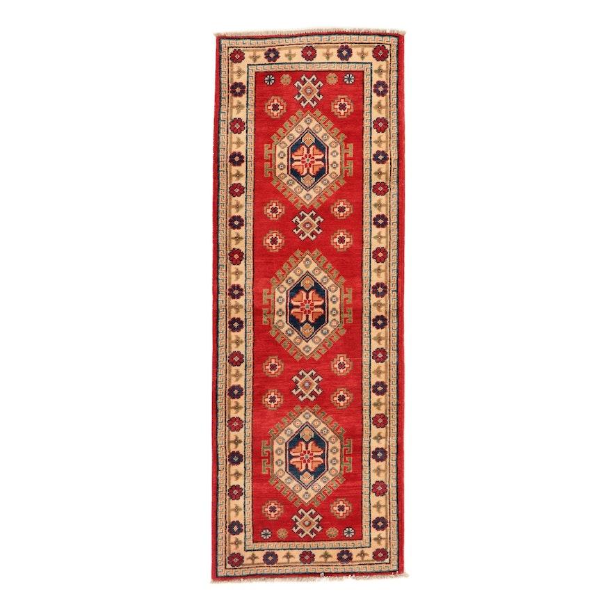 2'2 x 6'1 Hand-Knotted Afghan Caucasian Kazak Carpet Runner, 2010s