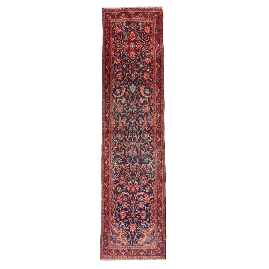 2'5 x 10' Hand-Knotted Persian Sarouk Carpet Runner, 1960s