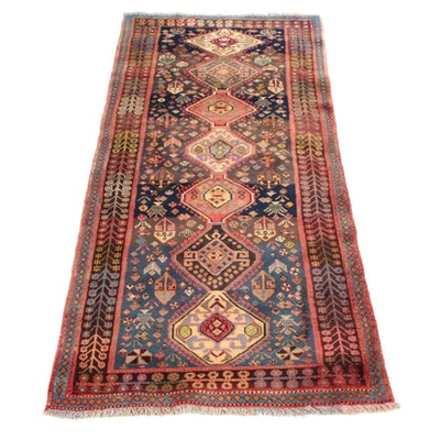 3'9 x 8'1 Hand-Knotted Persian Shiraz Qashqai Long Rug, 1960s