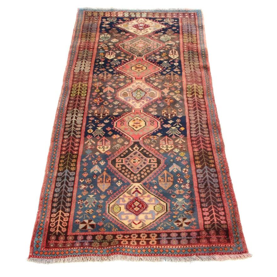 3'9 x 8'1 Hand-Knotted Persian Shiraz Qashqai Long Rug, 1960s