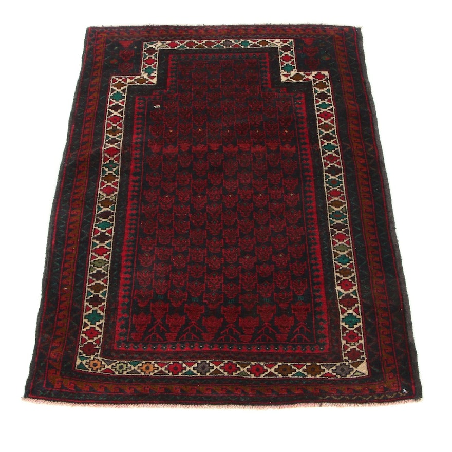 2'10 x 4'3 Hand-Knotted Persian Baluch Prayer Rug, 1990s