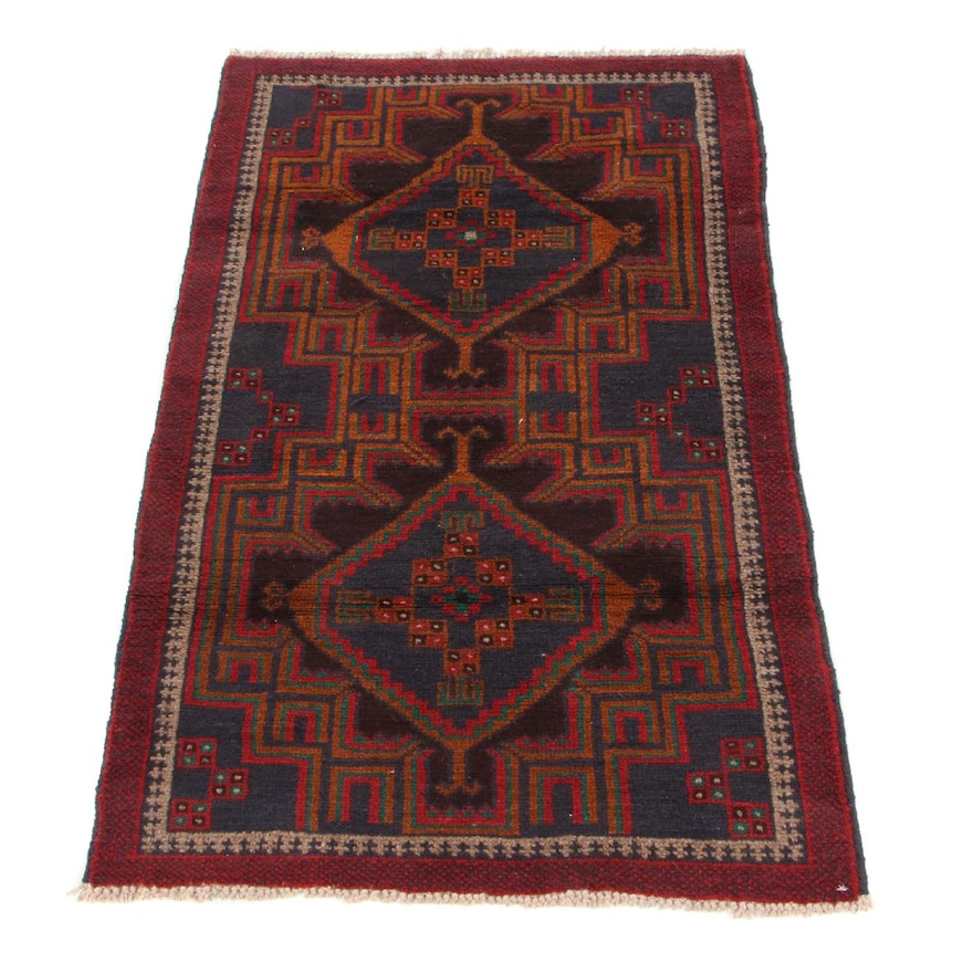 2'10 x 4'6 Hand-Knotted Afghan Baluch Accent Rug, 2000s