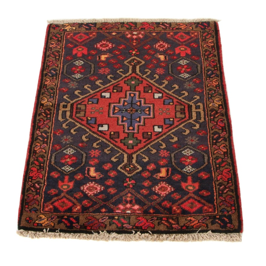 2'4 x 3' Hand-Knotted Persian Zanjan Wool Accent Rug, circa 1970s