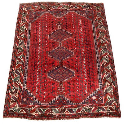 5'1 x 6'8 Hand-Knotted Persian Qashqai Area Rug