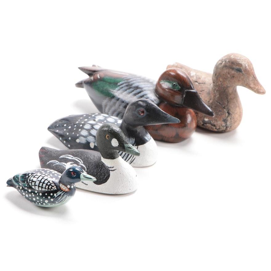 Five Miniature Duck Decoys