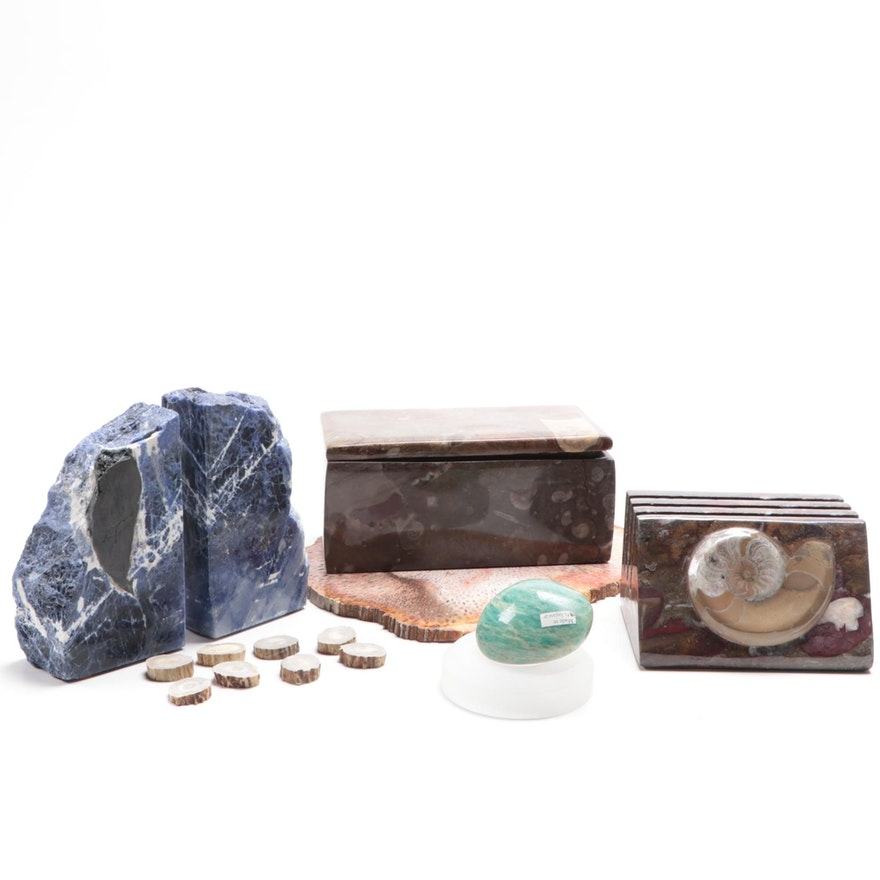 Fossilized Coral Specimen, Sodalite Bookends, and More