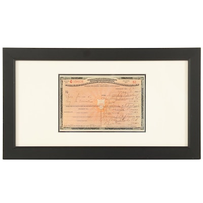 Framed National Prohibition Act Medicinal Liquor Prescription Form, 1925