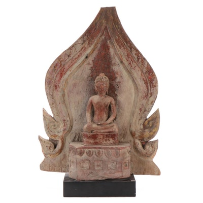 Burmese Polychrome Wood Shakyamuni Buddha, 20th Century