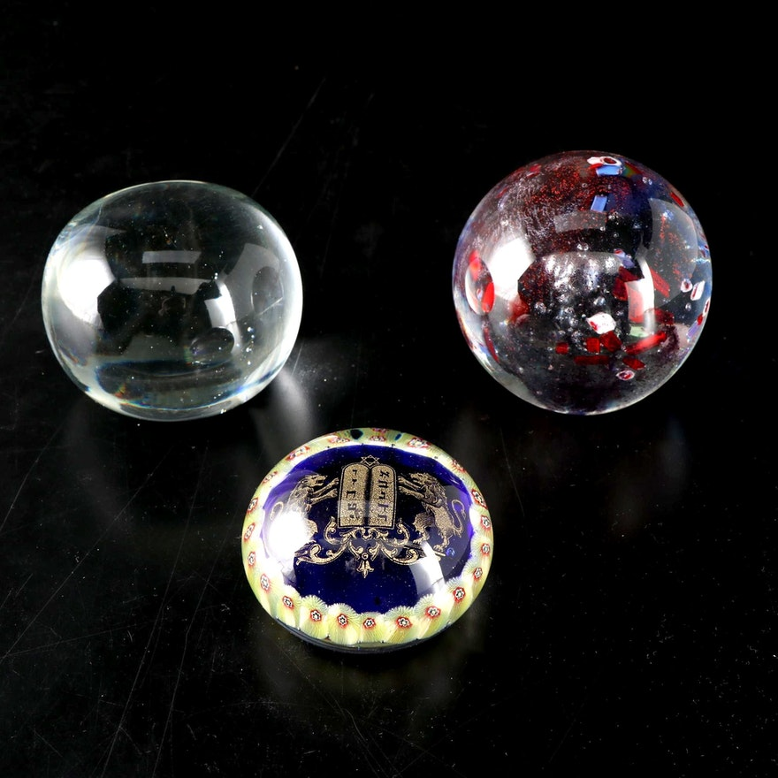 Art Glass Paperweights Including Lion of Judah with Millefiori