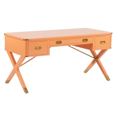 """Suzanne Kasler for Hickory Chair """"Asheworth"""" Lacquered Campaign Desk"""