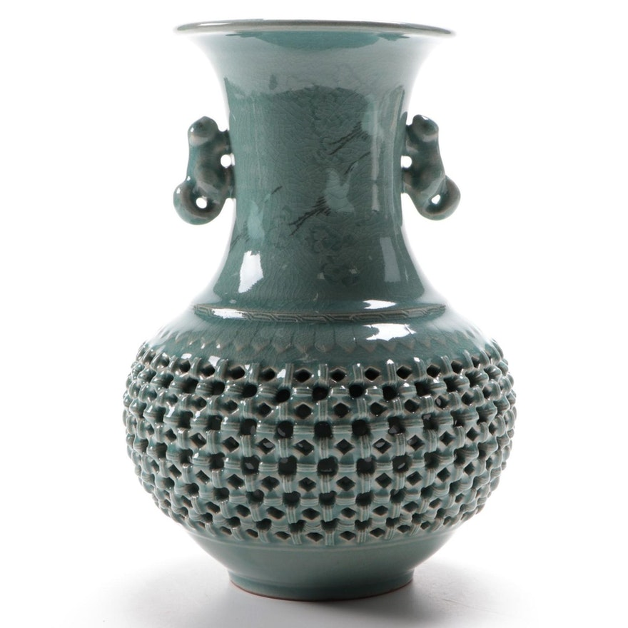 Korean Celadon Glaze Basketweave Ceramic Vase