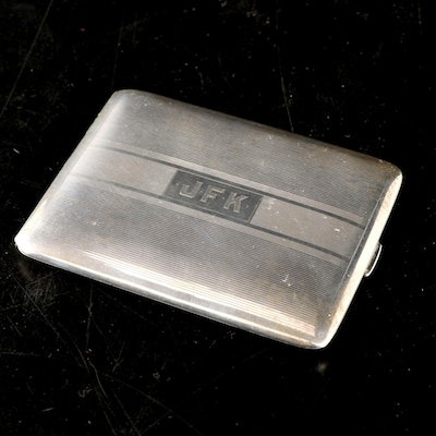 Art Deco Sterling Silver Monogrammed Cigarette Case, Early to Mid 20th Century