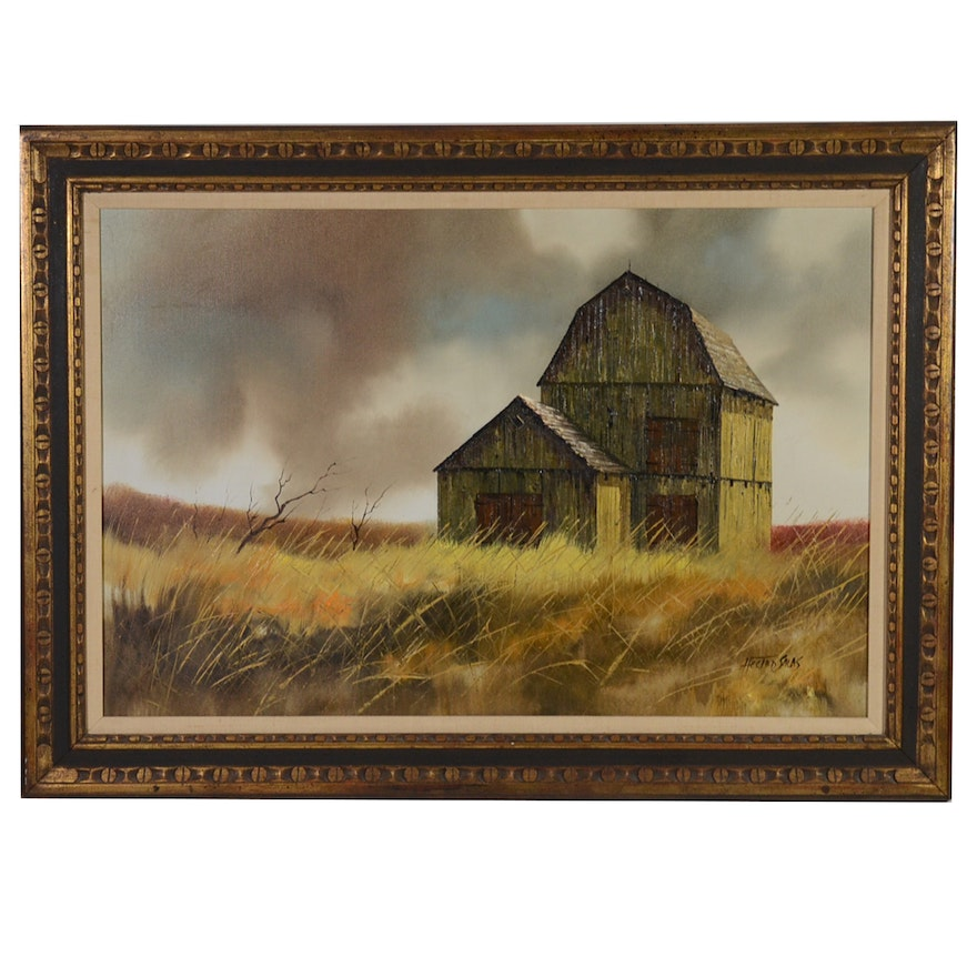 Hector Salas Oil Painting of Rural Landscape with Barn