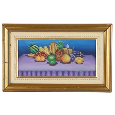 Judes Dérifond Still Life Acrylic Painting with Fruit, 2003