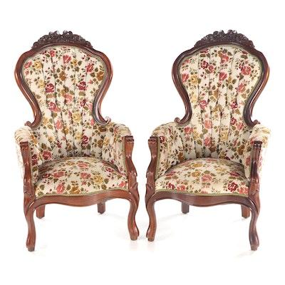 Pair of Rococo Revival Style Mahogany Armchairs, 20th Century