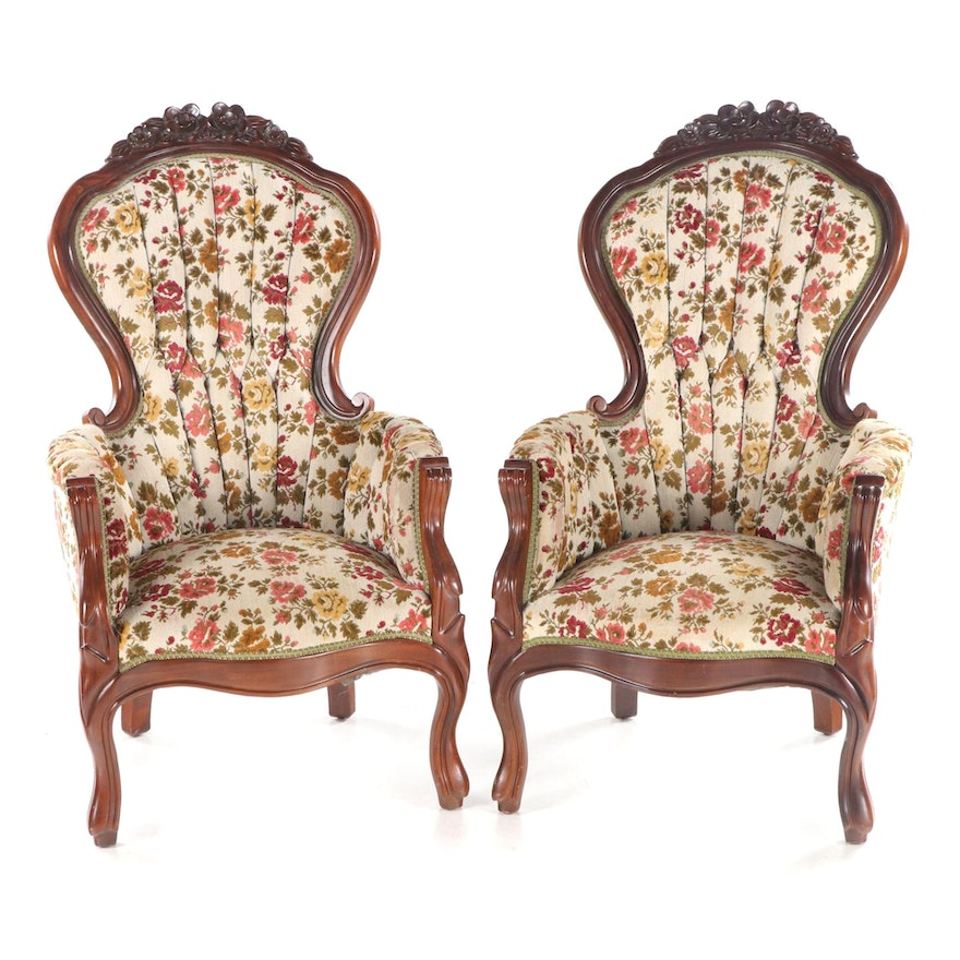 Pair of Rococo Revival Style Mahogany Armchairs, 20th Century