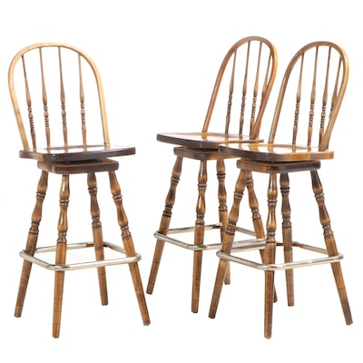 Three American Primitive Style Bowback Windsor Swivel Bar Stools