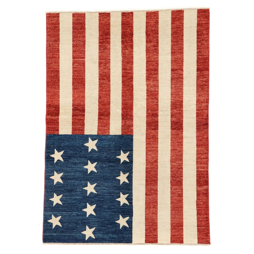 4'10 x 7' Hand-Knotted Afghan American Flag Area Rug