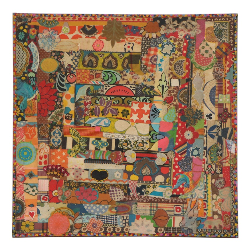 Fabric Strip, Print, and Acrylic Paint Collage, Late 20th Century