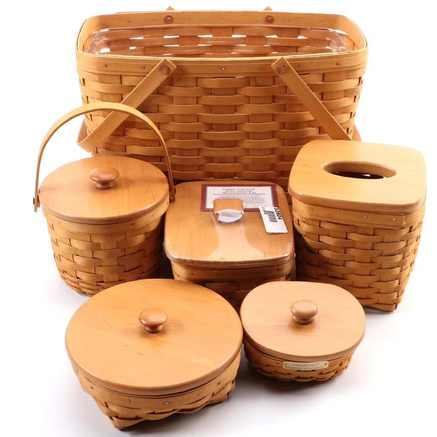 Longaberger Handwoven Baskets and Tissue Box Cover