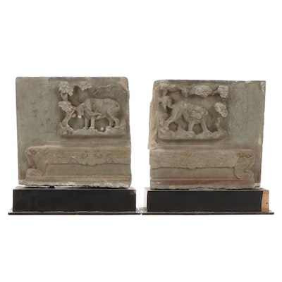 Chinese Qing Dynasty Carved Stone Monument Relief Panels