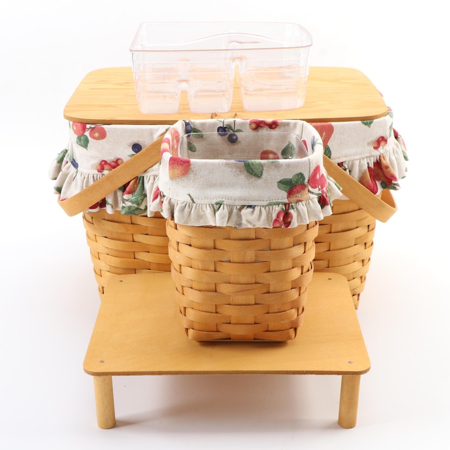 Longaberger Picnic and Lined Baskets with Tray