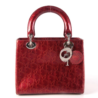 Christian Dior Lady Dior Handbag in Ultimate Embossed Red Patent Leather