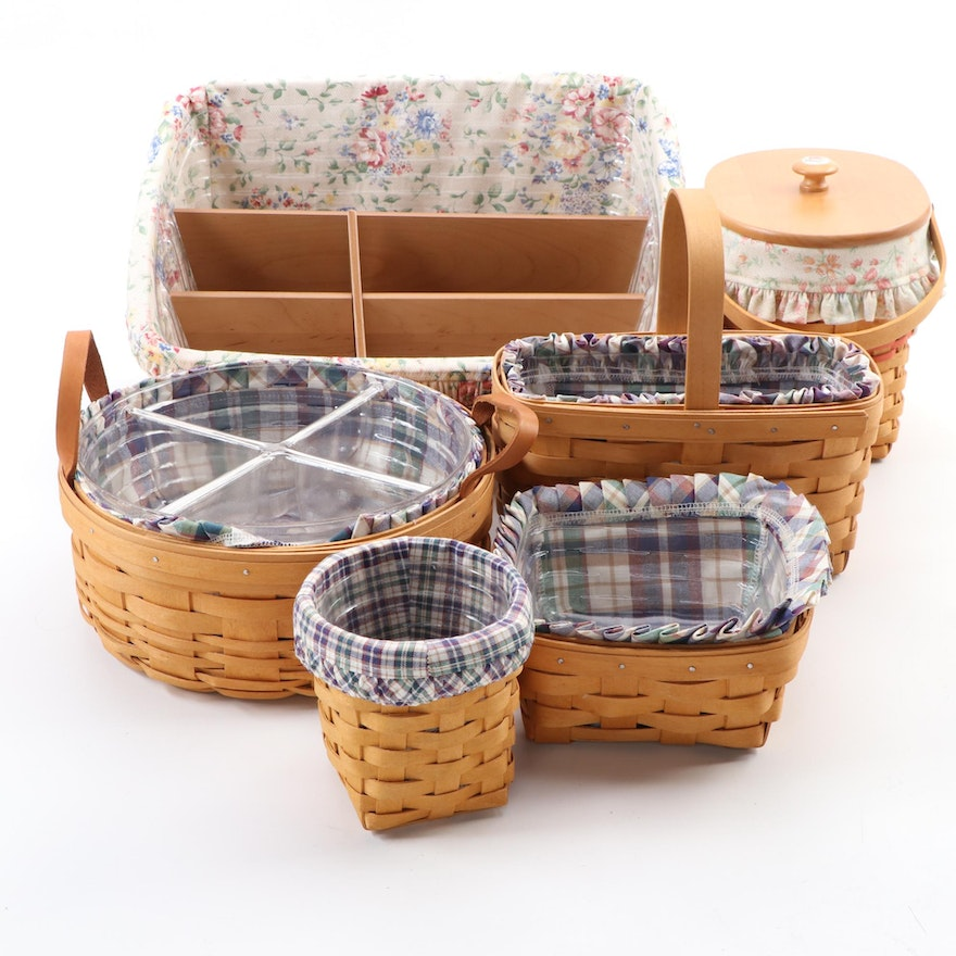 Six Longaberger Baskets with Liners