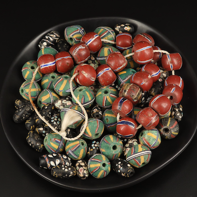 Venetian Trade Beads Including King, French Ambassador and Round Brick